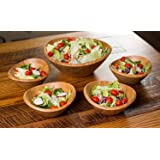 BirdRock Home Bamboo Salad Bowl Set | Set of 5 | Wooden Stackable Bowls for Salad, Pasta, Fruit | Kitchen Bowl Set