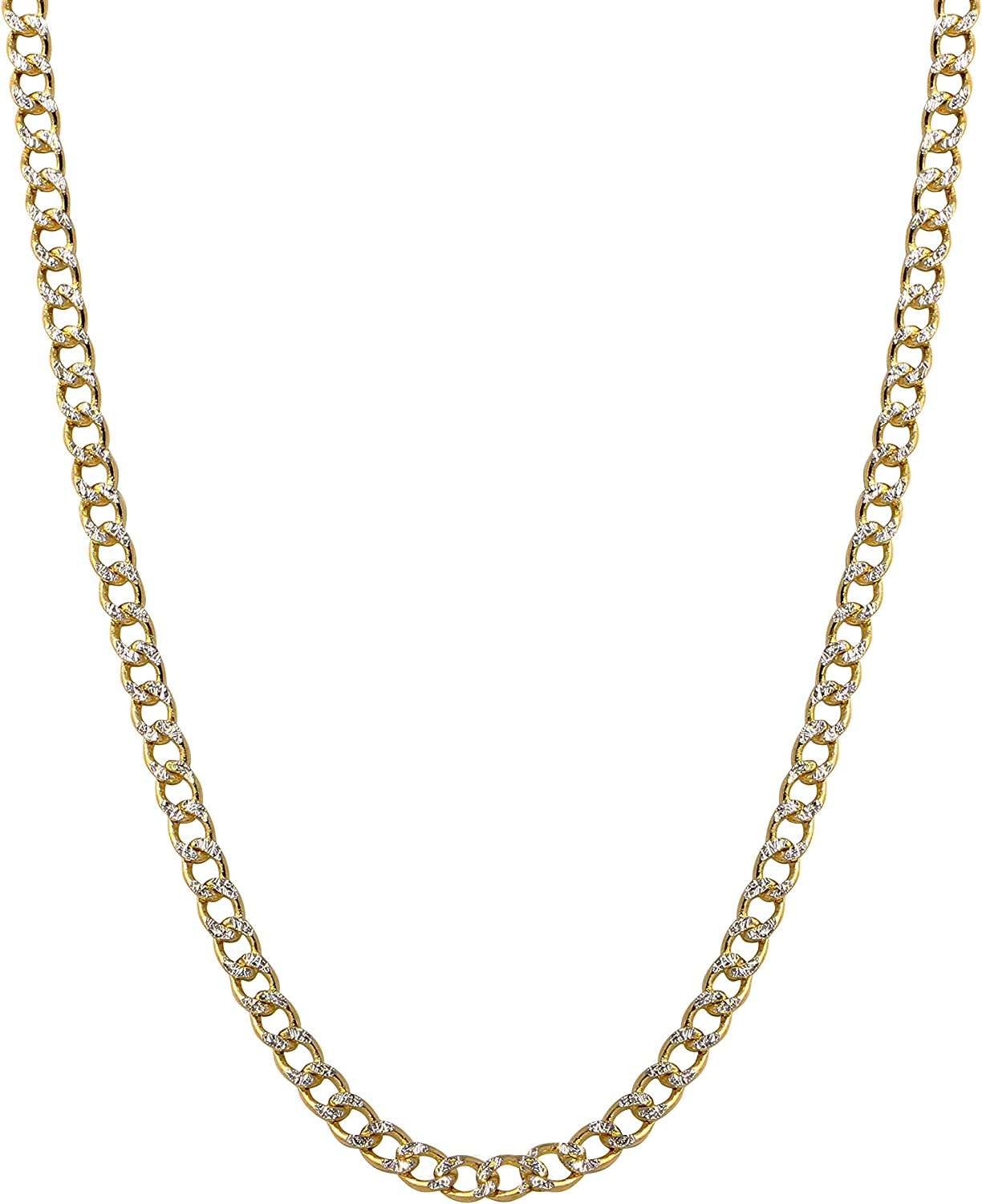 Bee Jewels Mens 14k Two-Tone Gold 2.5mm Hollow Cuban Curb White Pave Chain Necklace