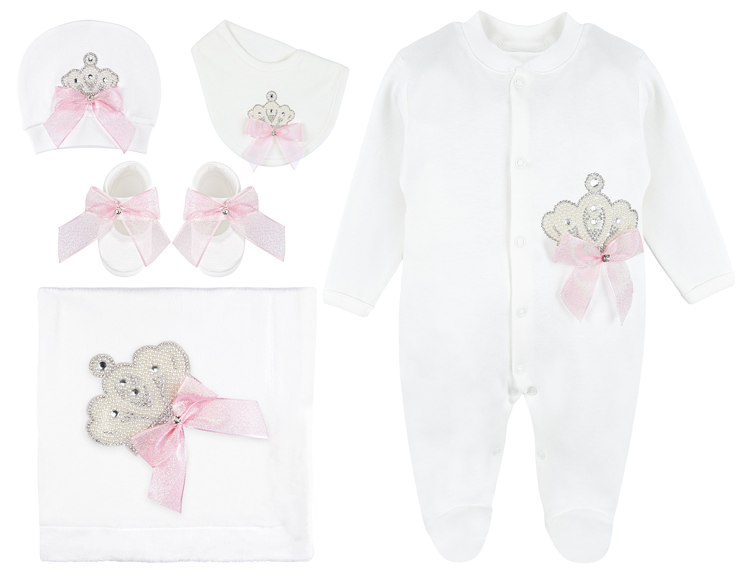 Lilax Baby Girl Jeweled Crown Pink Shimmer Layette 5 Piece Gift Set 0-3 Months