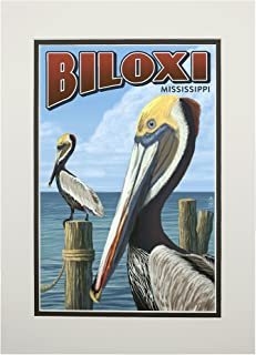 product image for Biloxi, Mississippi - Brown Pelican (11x14 Double-Matted Art Print, Wall Decor Ready to Frame)