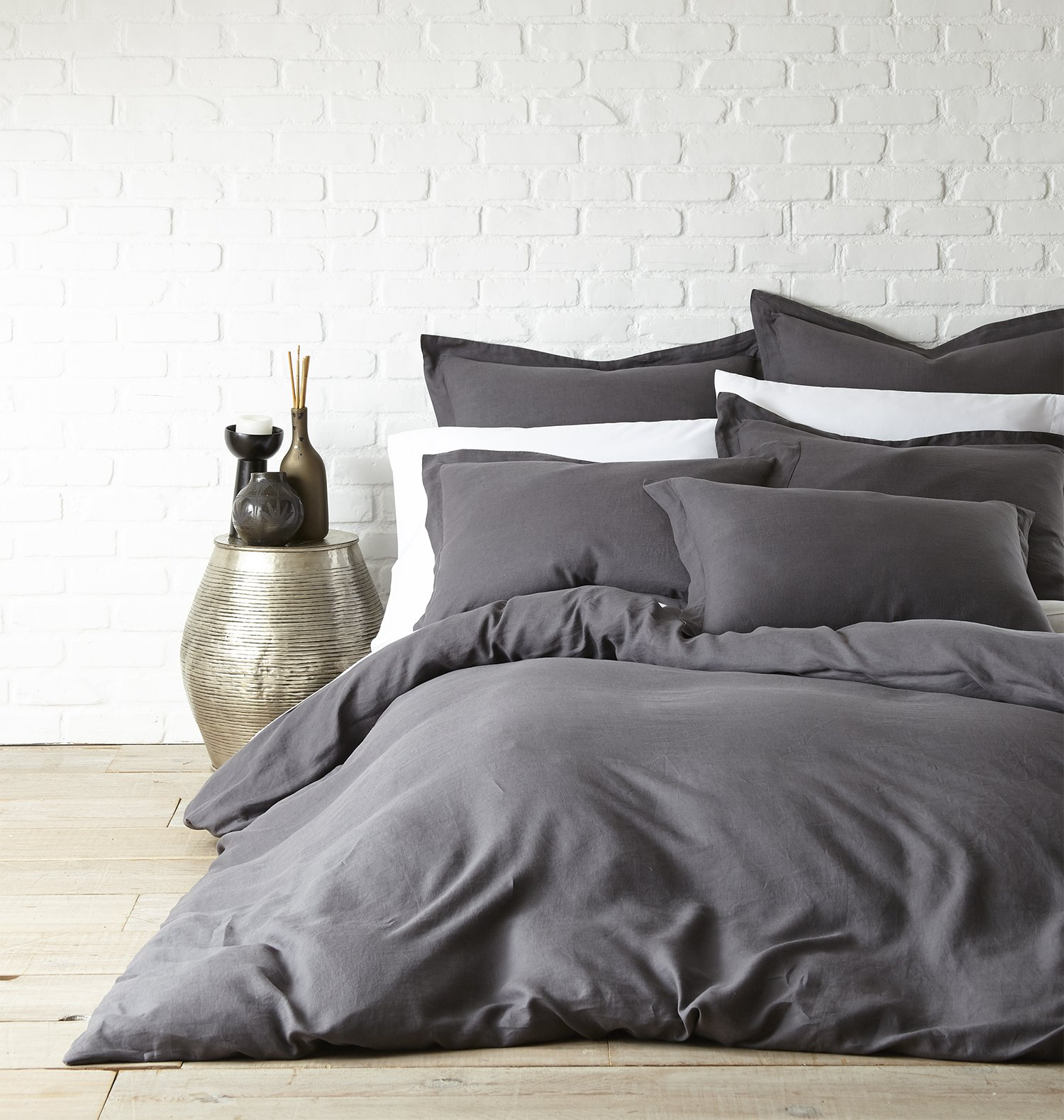 Washed Linen Coal Queen Duvet Cover