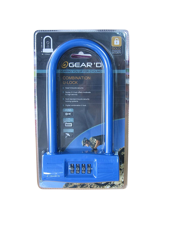GEARD Combination U Lock Blue