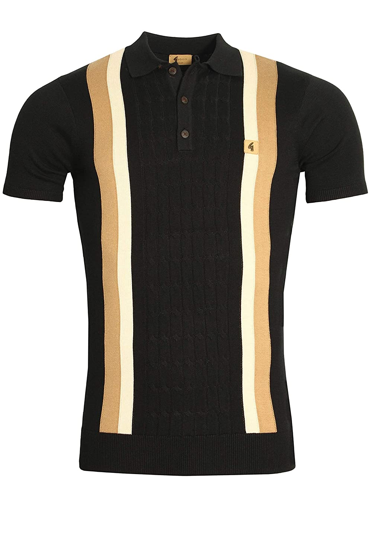 Gabicci Turney Centre Stripe 3 Button Mens Polo Shirt Black