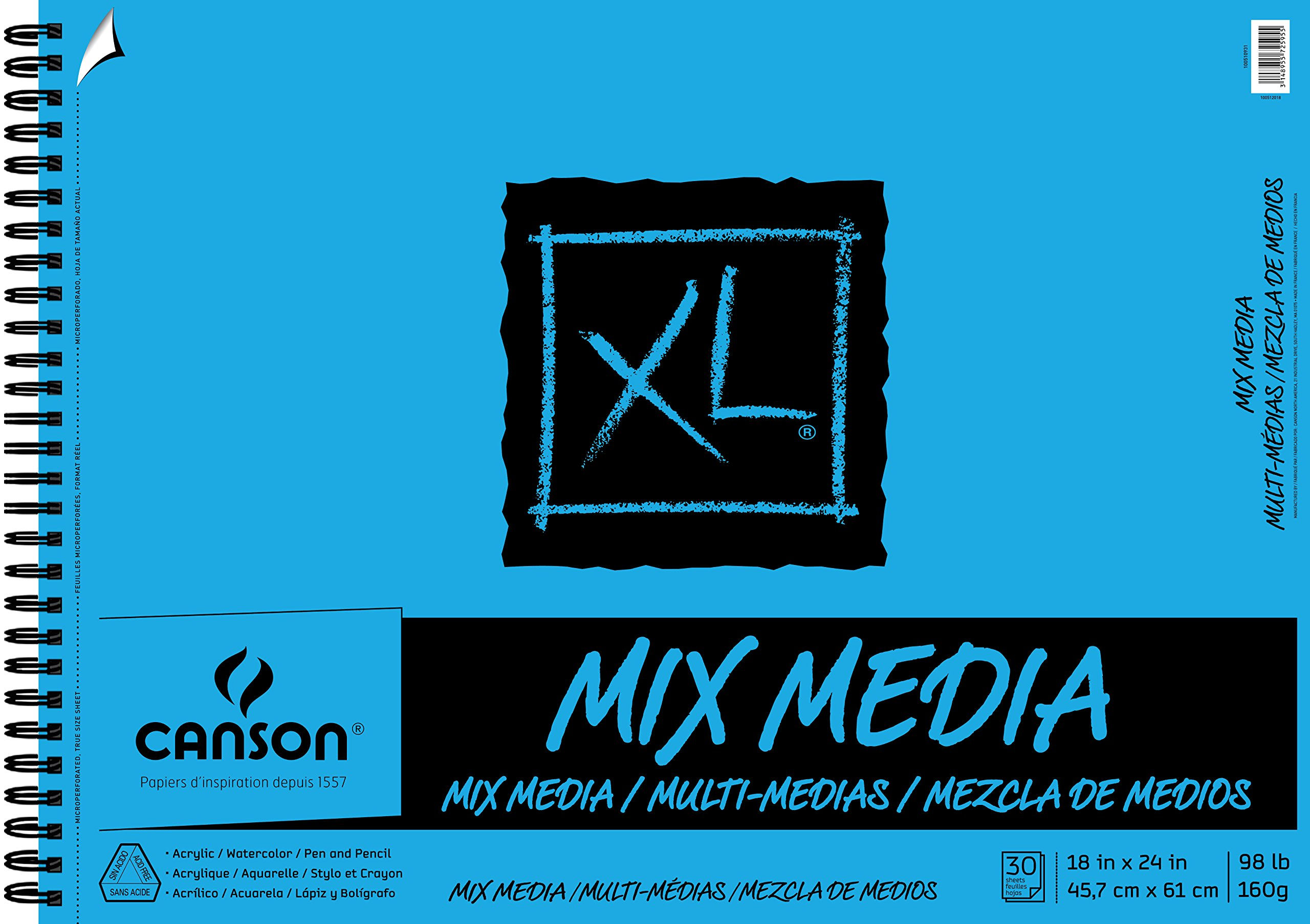 Canson XL Series Mix Media Paper Pad, Heavyweight, Fine Texture, Heavy Sizing for Wet and Dry Media, Side Wire Bound, 98 Pound, 18 x 24 In, 30 Sheets by Canson