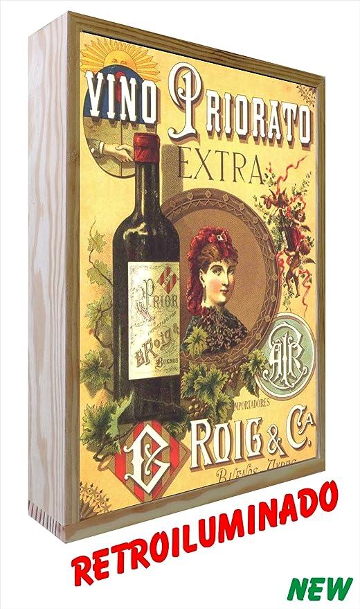 Cartel vintage de Madera Iluminados Vino Priorato ...