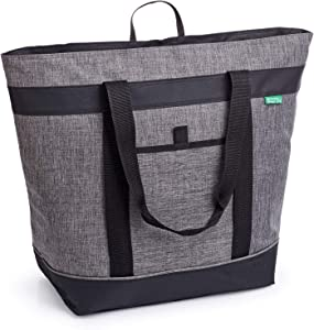Jumbo Insulated Cooler Bag (Charcoal) with HD Thermal Foam Insulation. Premium Quality Soft Sided Cooler Makes a Perfect Insulated Grocery Bag, Food Delivery Bag, Travel Cooler, or Picnic Cooler.