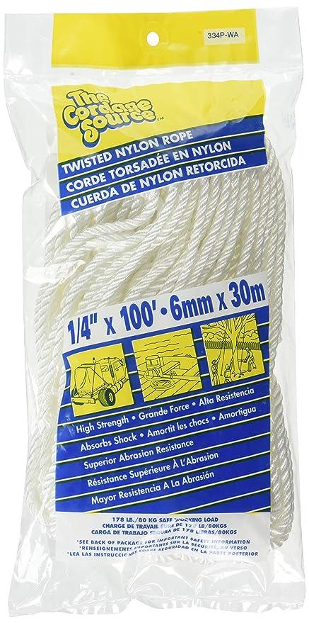 Amazon com : Cordage Source 334P Twisted Nylon Rope, 1/4