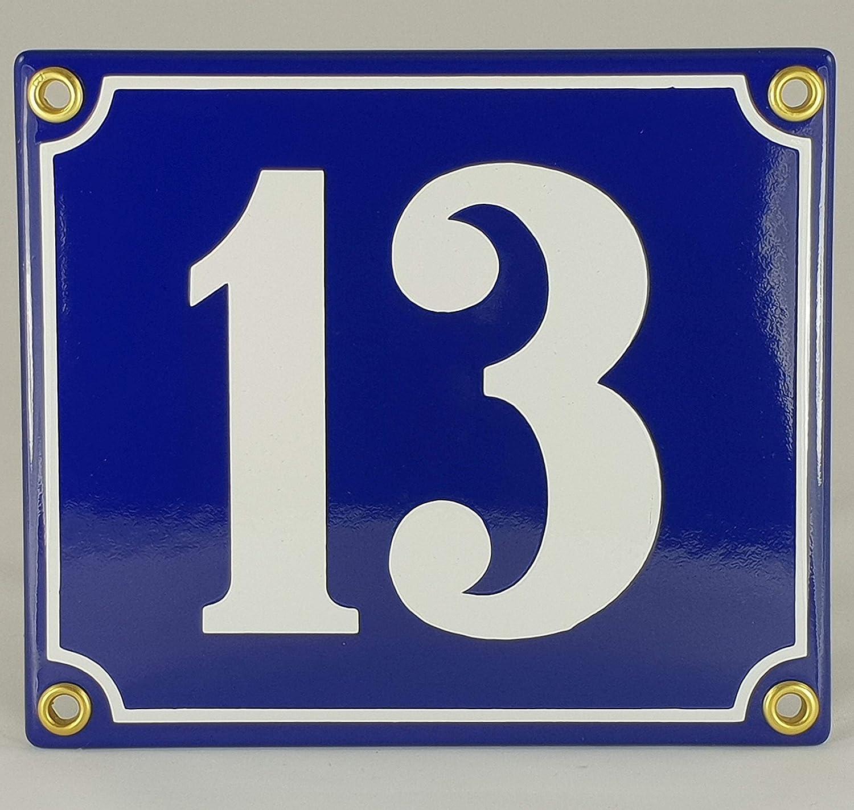 34 Blau-Wei/ßHandarbeit Hausnummer Emaille Schild Nr