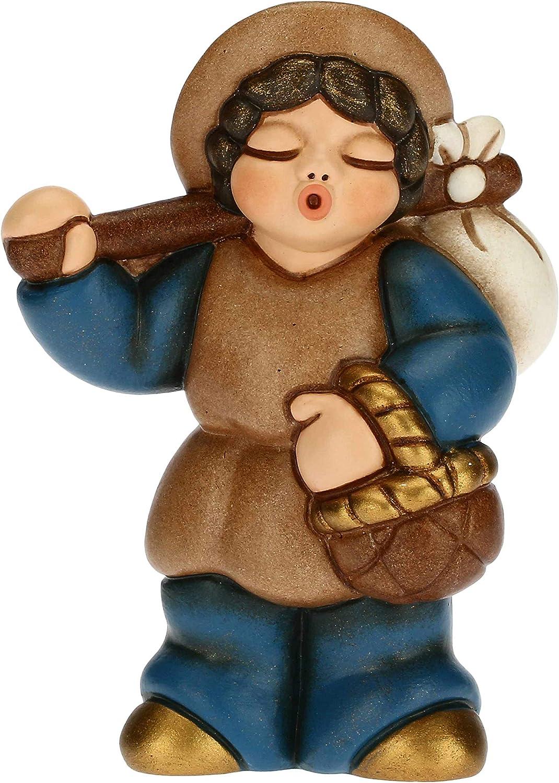 THUN - Figura de pesebre de hombre con fagotto – Decoración navideña para casa – Línea de pesebre clásica, variante azul – Cerámica – 6 x 3,8 x 8 h cm