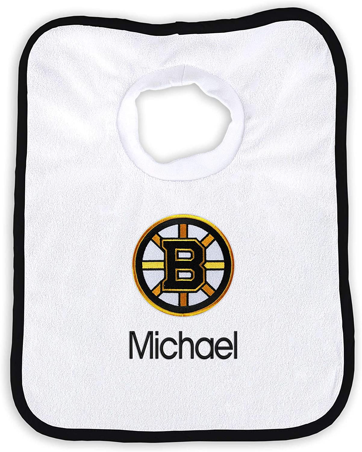 Designs by Chad and Jake Boston Bruins Infant Personalized Bib /& Burp Cloth Set