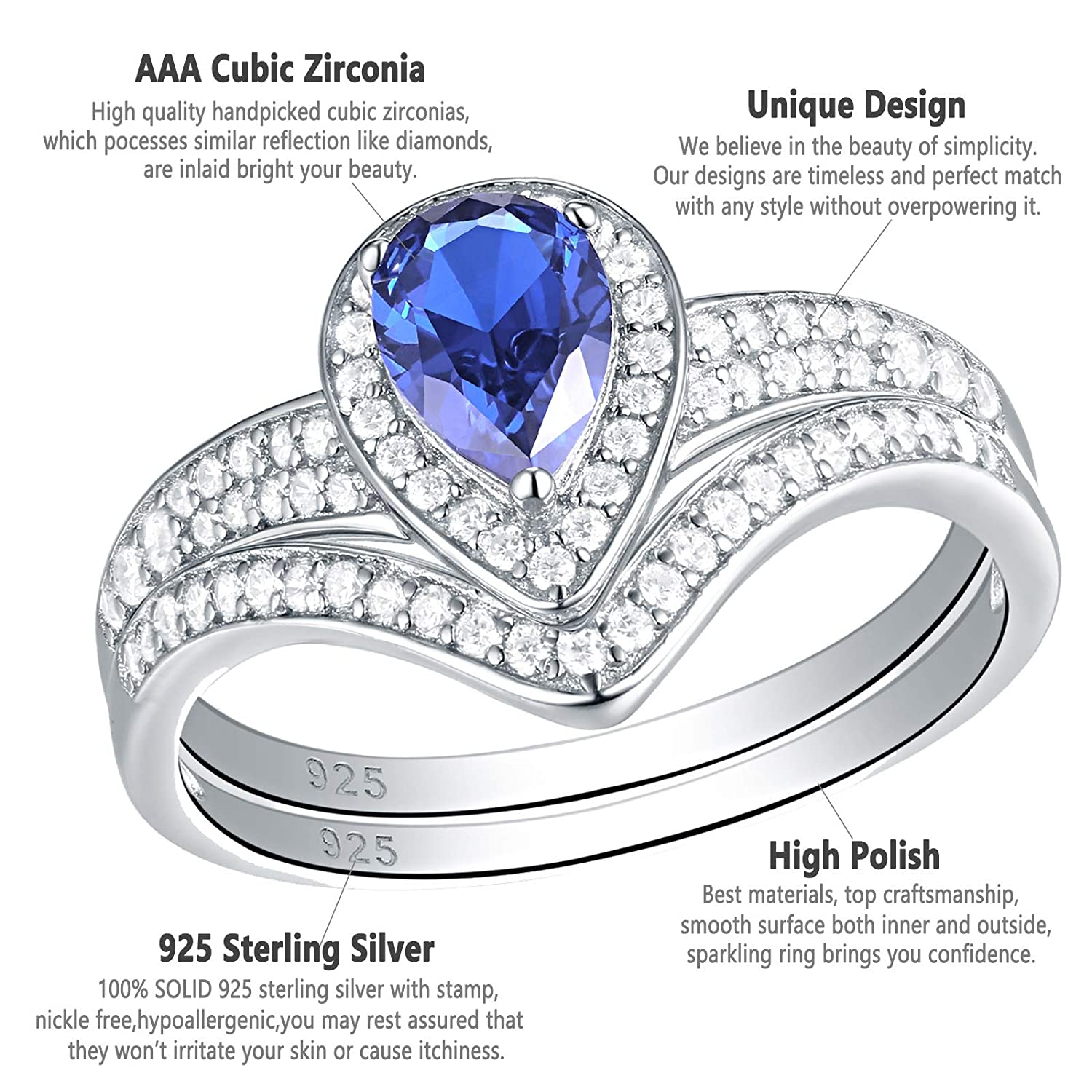 925 Sterling Silver 2 Ring/'s size O 2.25ct Bridal Set Ring