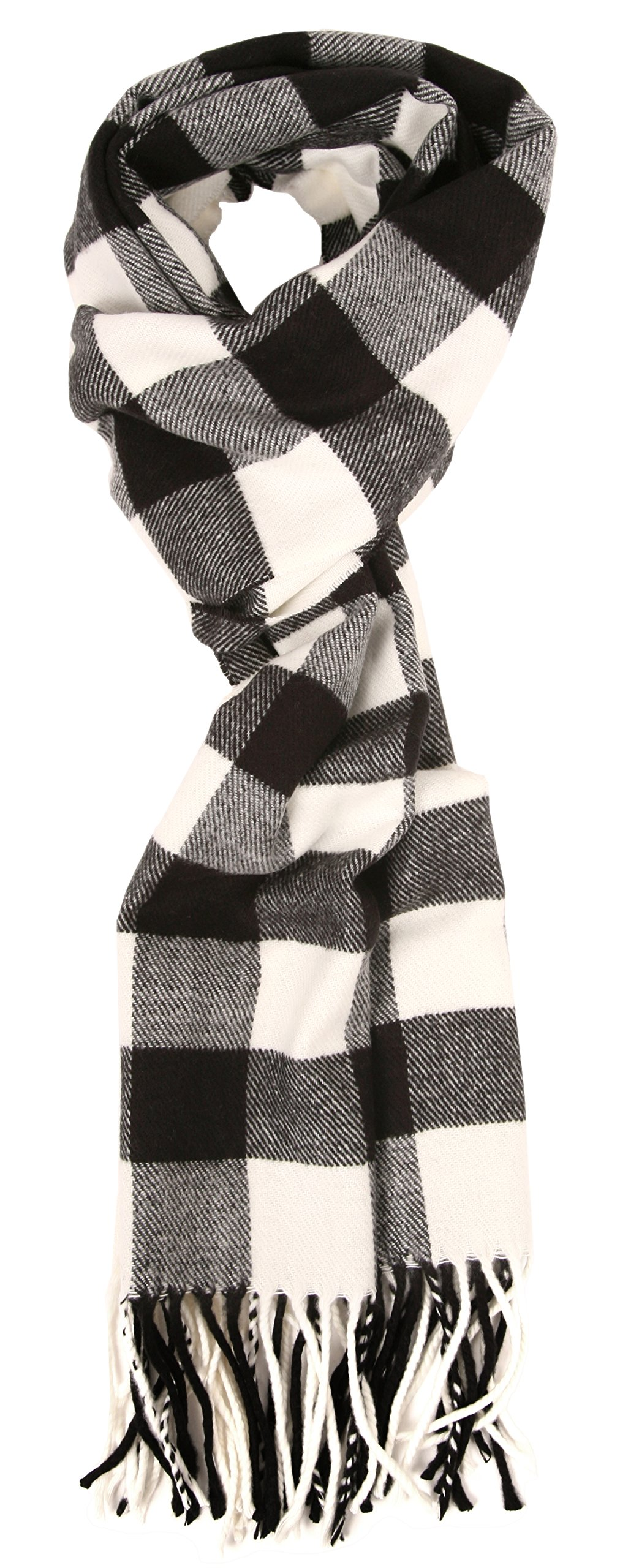 Love Lakeside-Women's Soft Cashmere Feel Winter Plaid Scarf (Black and White Buffalo Check)