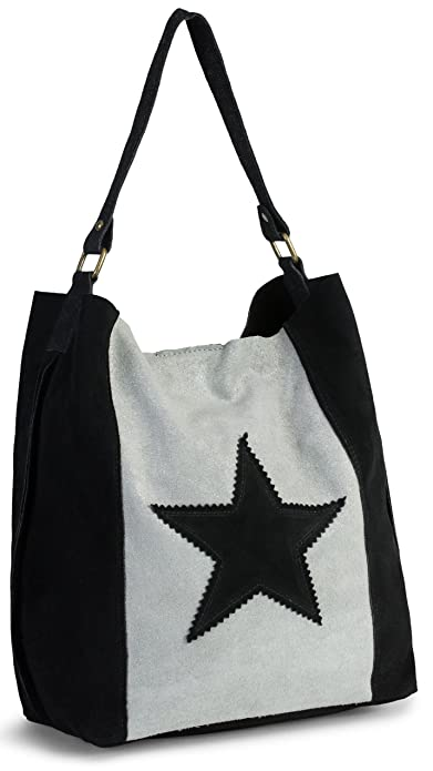 64e14da6231d LIATALIA Womens Large Star Real Italian Suede Leather Single Shoulder Strap  Hobo Slouch Shopper Handbag -
