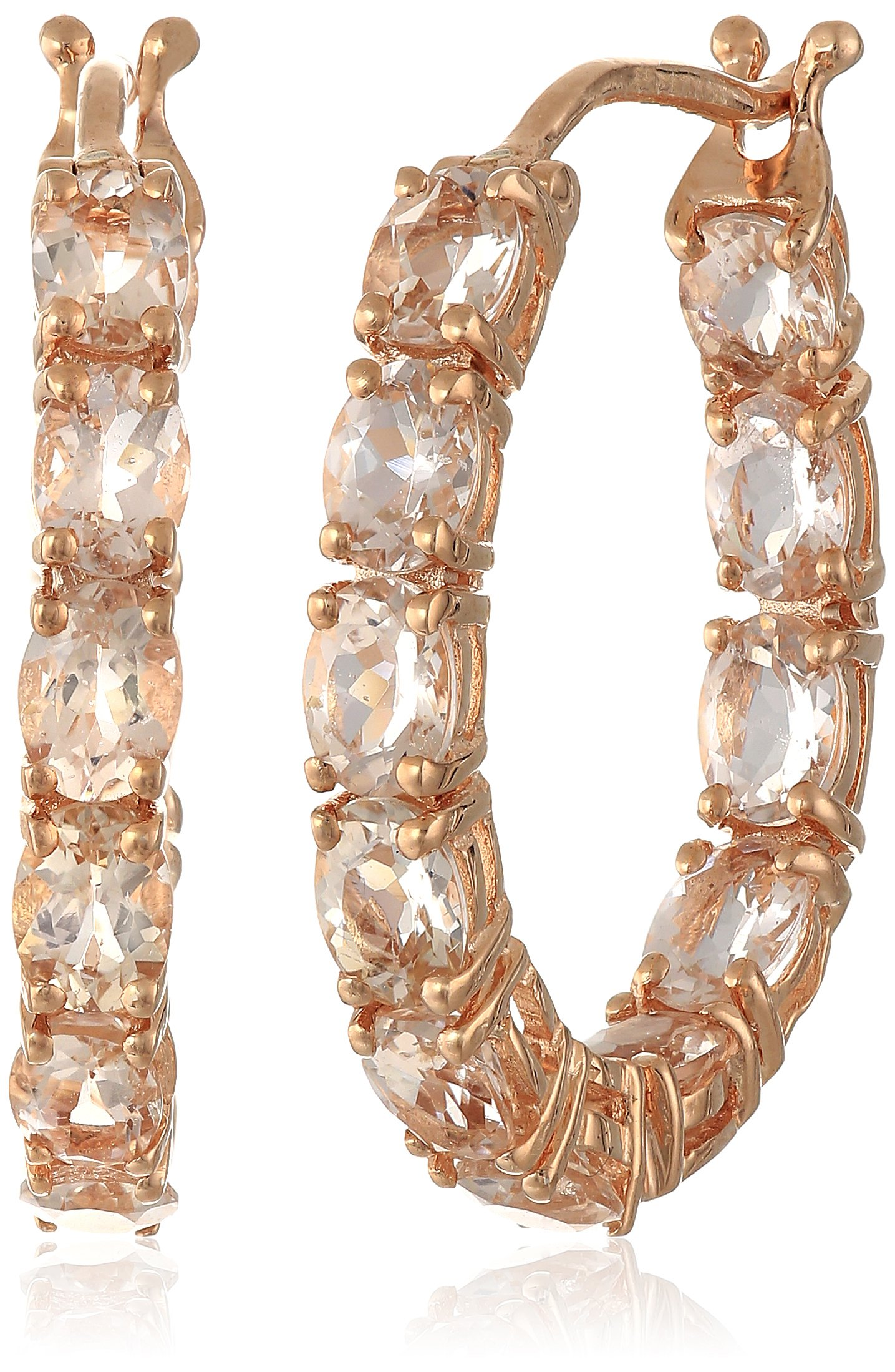 Rose Gold-Plated Silver Morganite Oval Inside Out Hoop Earrings