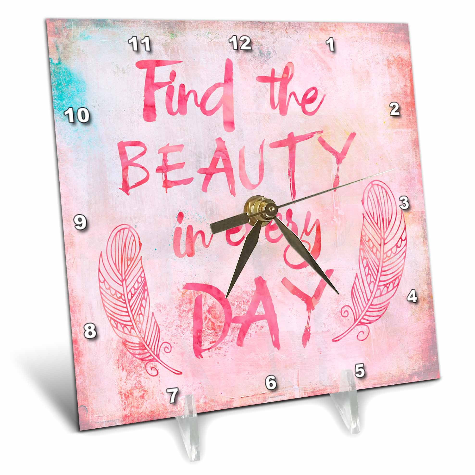 3dRose Andrea Haase Inspirational Typography - Watercolor Typography Find The Beauty In Every Day - 6x6 Desk Clock (dc_271232_1)