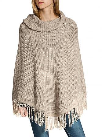 ec01b2d1d8c022 CASPAR PON025 Damen Woll Poncho, Farbe:beige;Größe:One Size: Amazon ...
