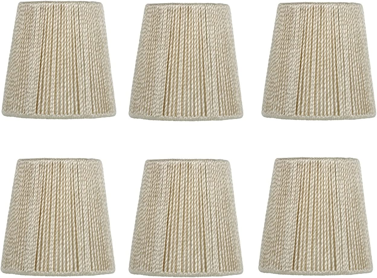 Upgradelights 4 Inch Hand Strung Retro Drum Clip On Chandelier Lamp Shades Set of six 3x4x4