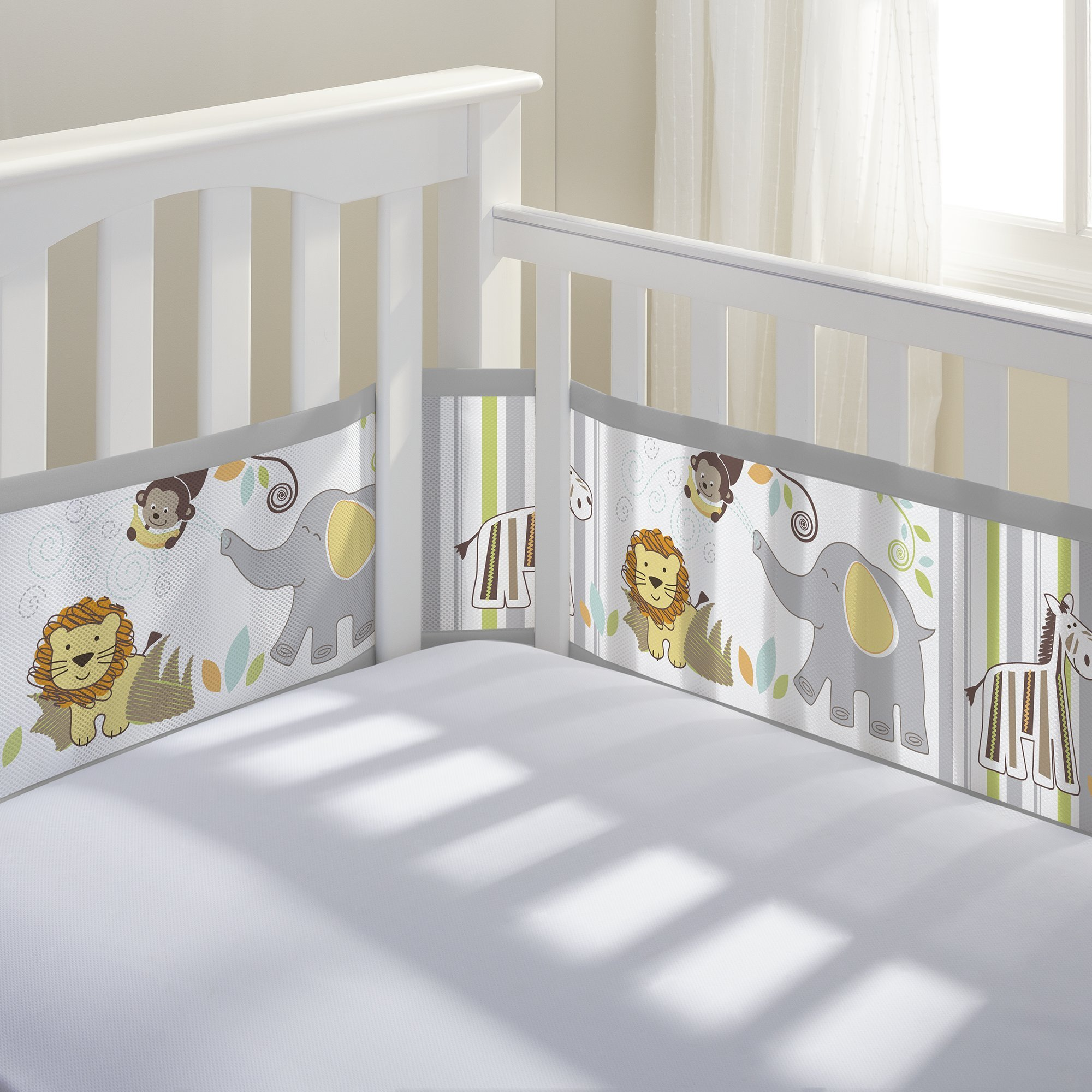 Breathable Baby Breathable Mesh Crib Liner | Doctor Endorsed | Prevents Babies from Getting Stuck in Crib Slats | Fits 4 Sided Slatted & Solid Back Cribs | Safari Fun Too by BreathableBaby (Image #1)
