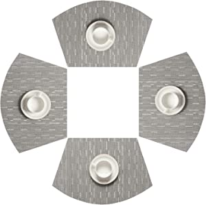 SHACOS Round Table Placemats Set of 4 Wedge Placemats Heat Resistant Woven Vinyl Table Mats Wipe Clean (4, Silver Gray)
