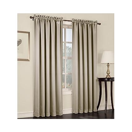 Sun Zero Ludlow Rod Pocket Room Darkening Curtain Panel Pair Stone
