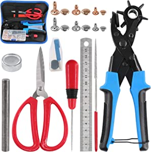 Glarks Adjustable Leather Hole Punch Pliers with Single Cap Leather Rivets Set Free Scissor & ruler & Awl Tool for Belt, Watch Bands, Saddle, Shoes
