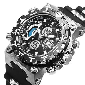 Sport Watch LED Digital Wrist Large Face LED Waterproof Military SIBOSUN Men Japanese Quartz Alarm Date