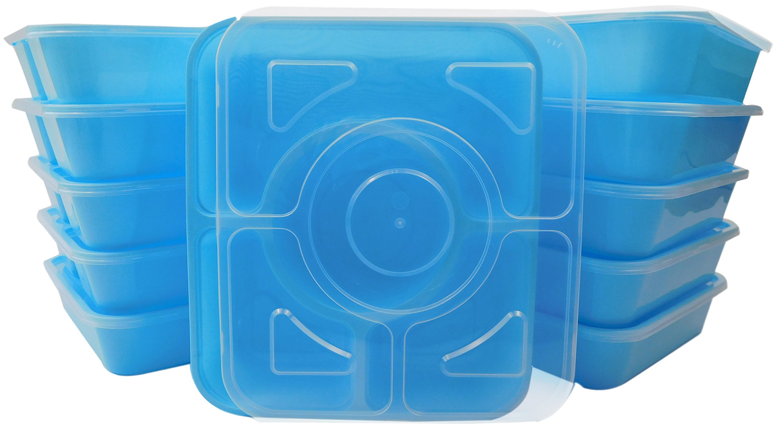 Table To Go 240-Pack Bento Lunch Boxes with Lids (4 Compartment/ 36 oz) | Microwaveable, Dishwasher & Freezer Safe Meal Prep Containers | Reusable Dish Set for Prepping, Portion Control & More (Blue)