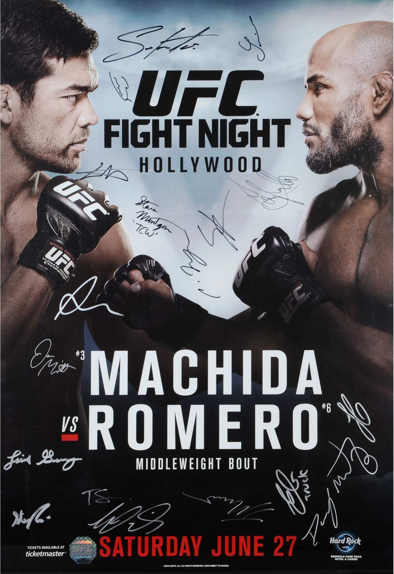 "UFC Fight Night 70 Machida vs. Romero Autographed 27"" x 39"" 18 Signature Fight Poster Fanatics Authentic Certified"