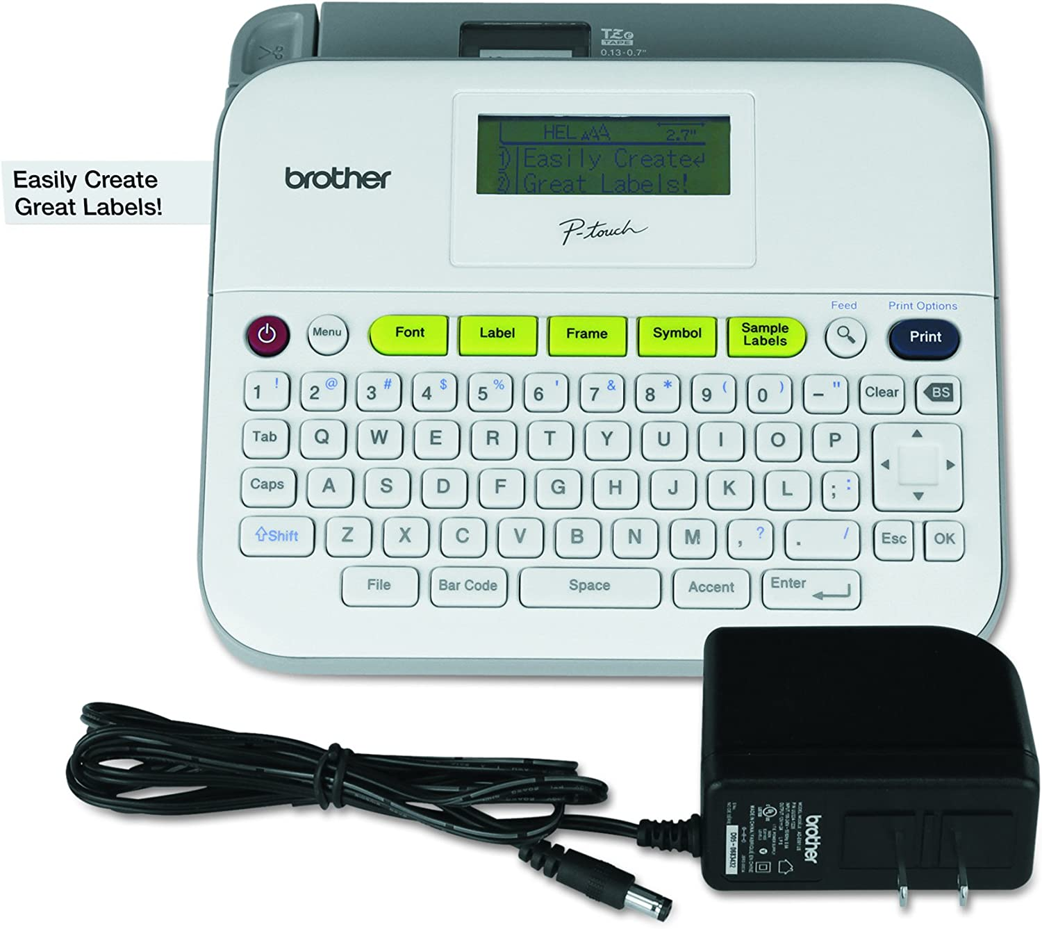 Brother P-touch Label Maker, Versatile Easy-to-Use Labeler, PTD400AD,AC Adapter, QWERTY Keyboard, Multiple Line Labeling, White