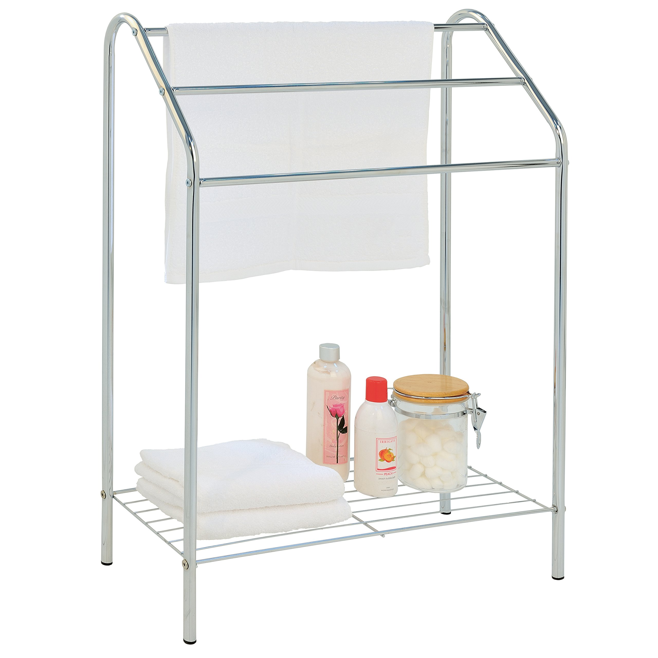 MyGift Freestanding 3 Tier Metal Towel Rack, Chrome Bathroom Towel Bar, Silver-Tone by MyGift