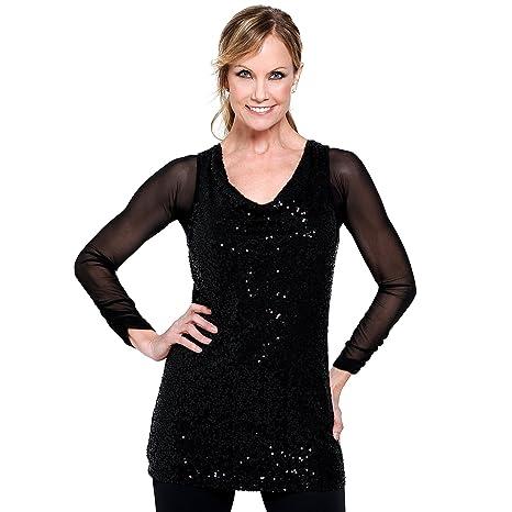 e12653a49fb619 Sleevey Wonders Women s Basic Long Sleeve Shirred Mesh Sleeve Black Size  X-Small