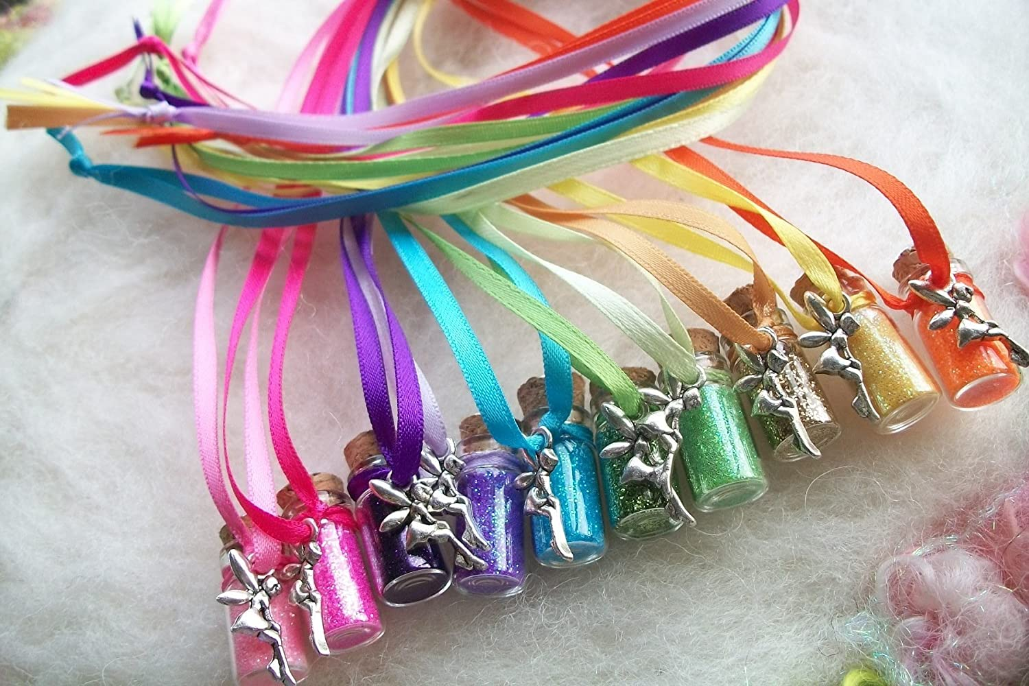 Rainbow Party Favors Tiny Tinkerbell Fairy Dust Necklaces