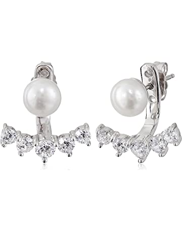 859a1a047 Platinum-Plated Sterling Pearl with White Earring Jackets