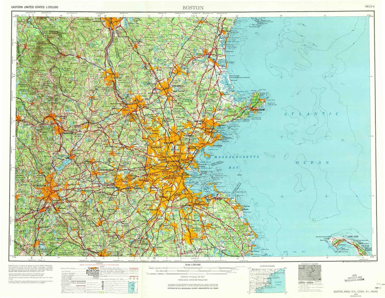 Amazoncom Yellowmaps Boston Ma Topo Map 1250000 Scale 1 X 2 - Us-map-boston-ma