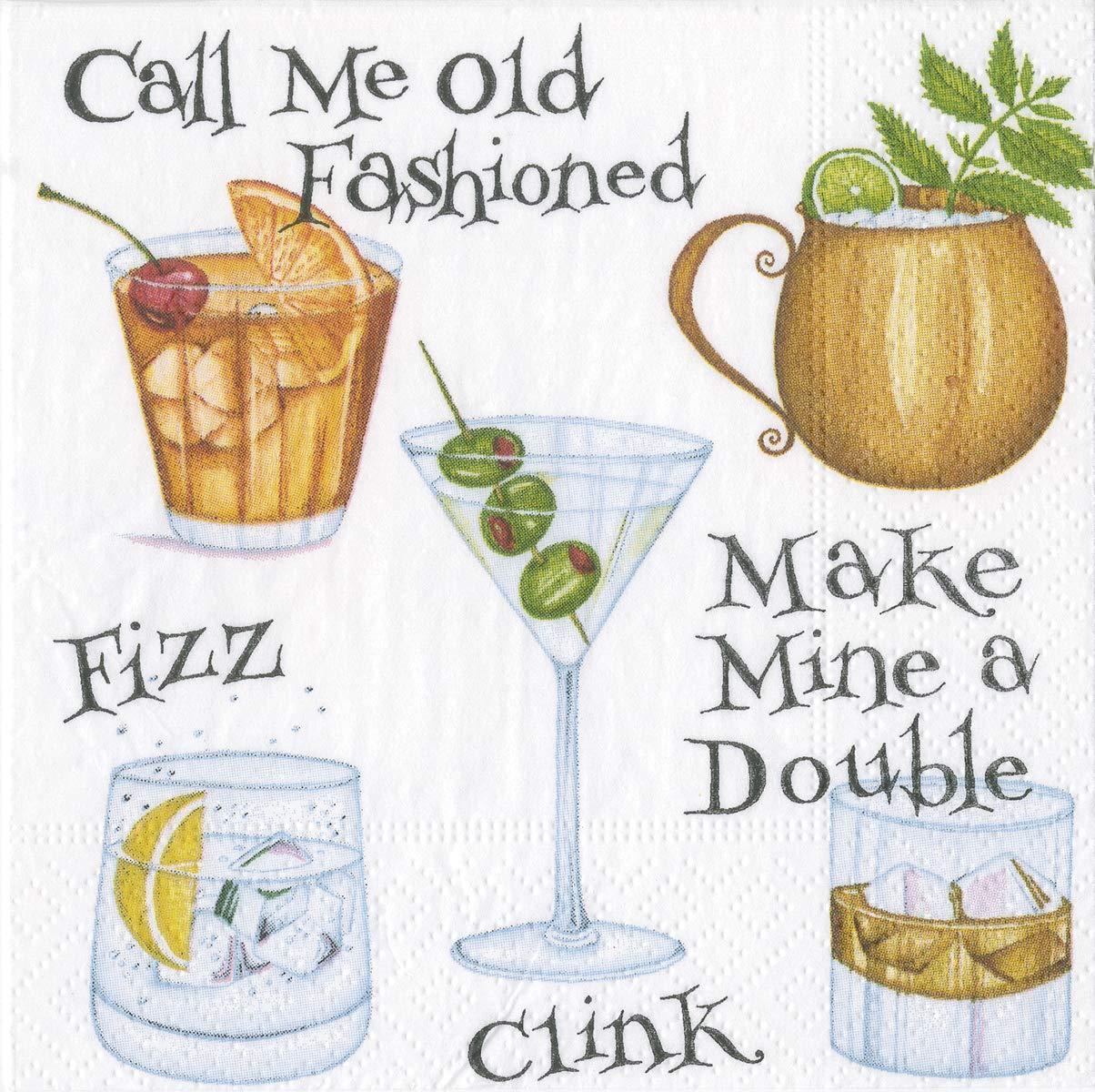 Caspari Funny Cocktail Napkins Paper Napkins 5 x 5 Party Napkins Beverage Decorative Happy Hour Ruby Slippers Pk 40