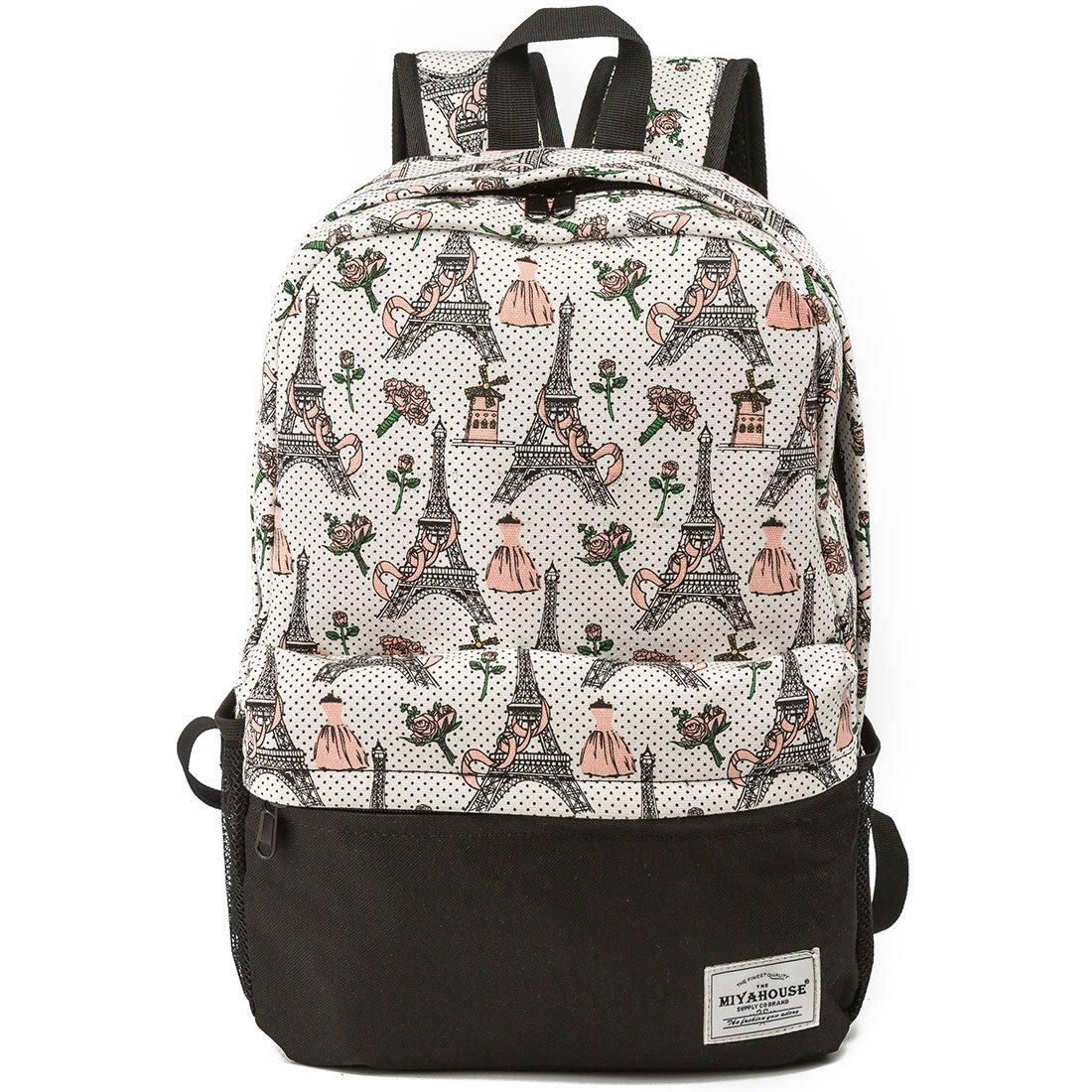 141768d334 Amazon.com  Eiffel Tower Women Canvas Laptop Backpack Cute School College Shoulder  Bag for Teenage Girls  Computers   Accessories