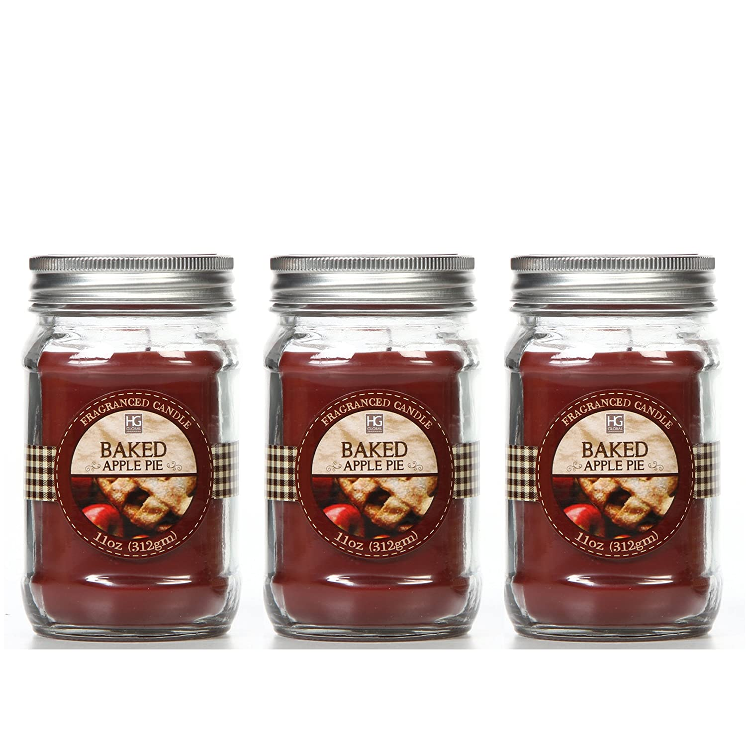 Hosley ® Premium, Set of 3 Baked Apple Jar Candle - 11oz Each. Bulk Buy. Great Gift Weddings, party, aromatherapy, spa, meditation or kitchen Hosley ® Premium HG Global FBA-BS52677WD-3-EA