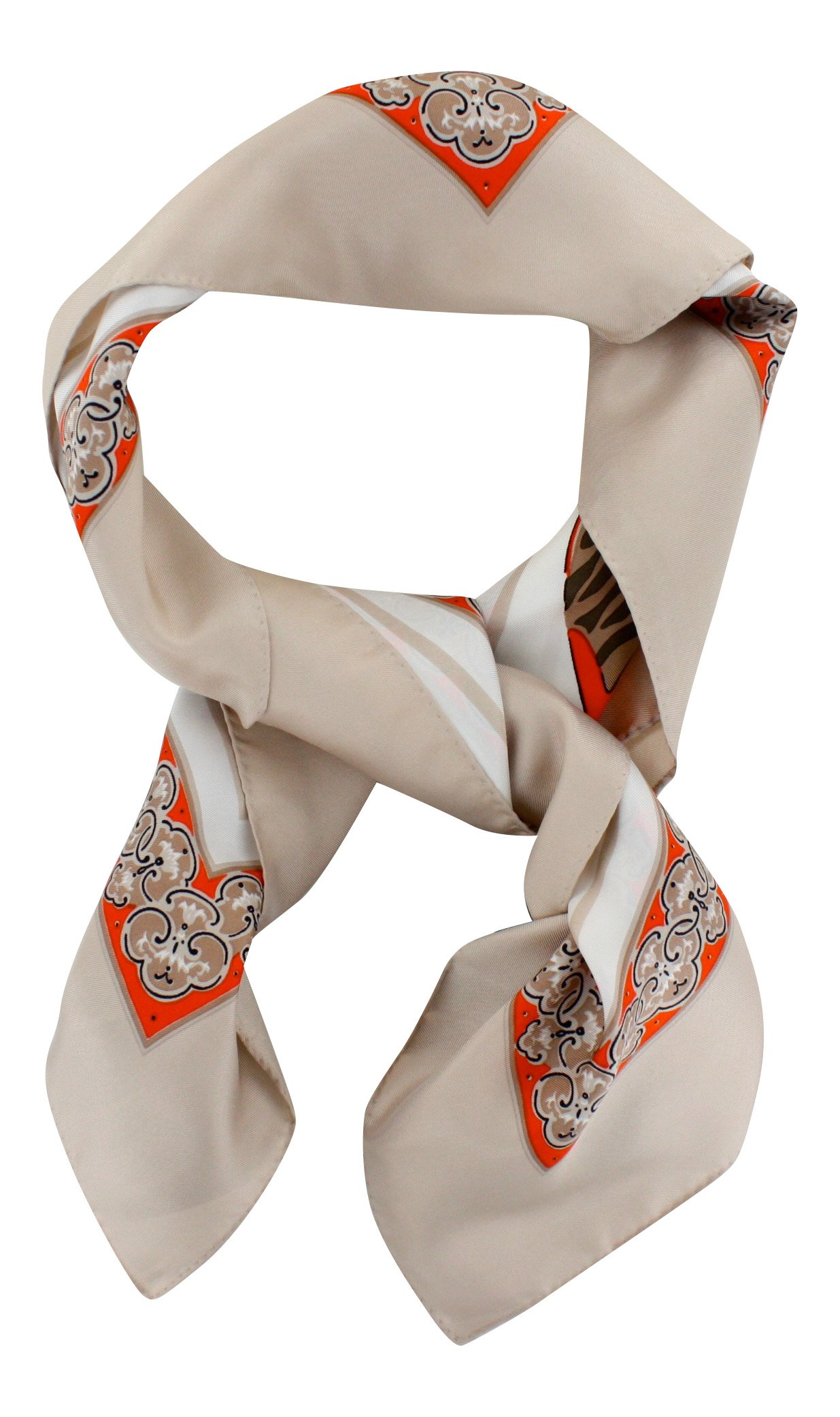 Silk Scarf ''La Parisienne'', Square 35''x35'', Made in France, 100% Silk Twill, beige by My French Neighbor