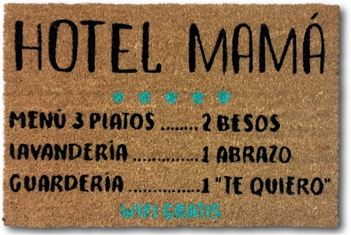koko doormats Felpudo Entrada para casa y Jardin, felpudos Entrada casa Originales y Divertidos, 40x60x1.5 cm, Coco con Base Antideslizante de PVC (Hotel Mama)