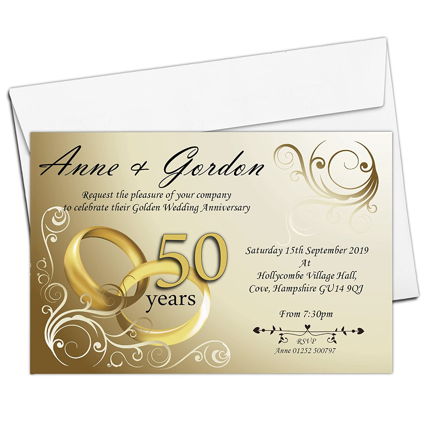 10 Personalised 50th Golden Wedding Anniversary Invitations with Envelopes N1 Invite Designs Ltd