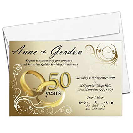 10 Personalised 50th Golden Wedding Anniversary Invitations with Envelopes N1: Amazon.co.uk: Kitchen & Home