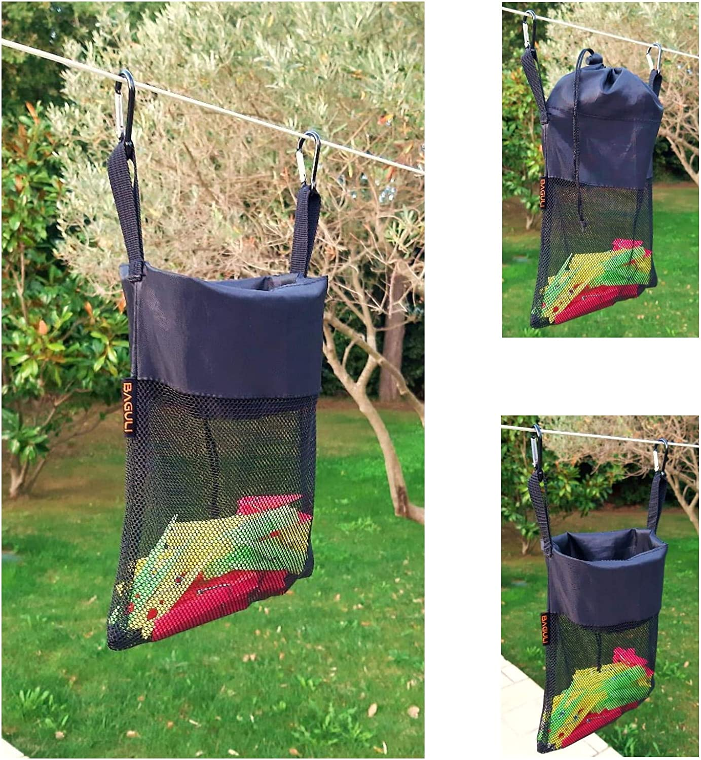 BAGULI Multifunctional Mesh Bag for Hanging with Drawstring Toys Dimensions 22//30x20cm Storage Bag for Clothes Pegs Mesh Bag for Toiletries Clothes Peg Bag Small Items