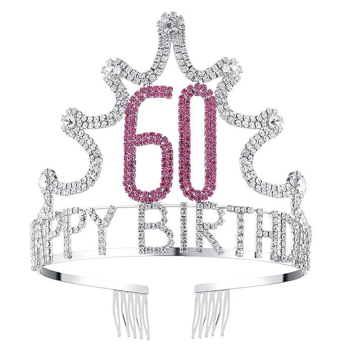 BABEYOND Rhinestone Cristal Cumpleaños Tiara Diadema Feliz ...