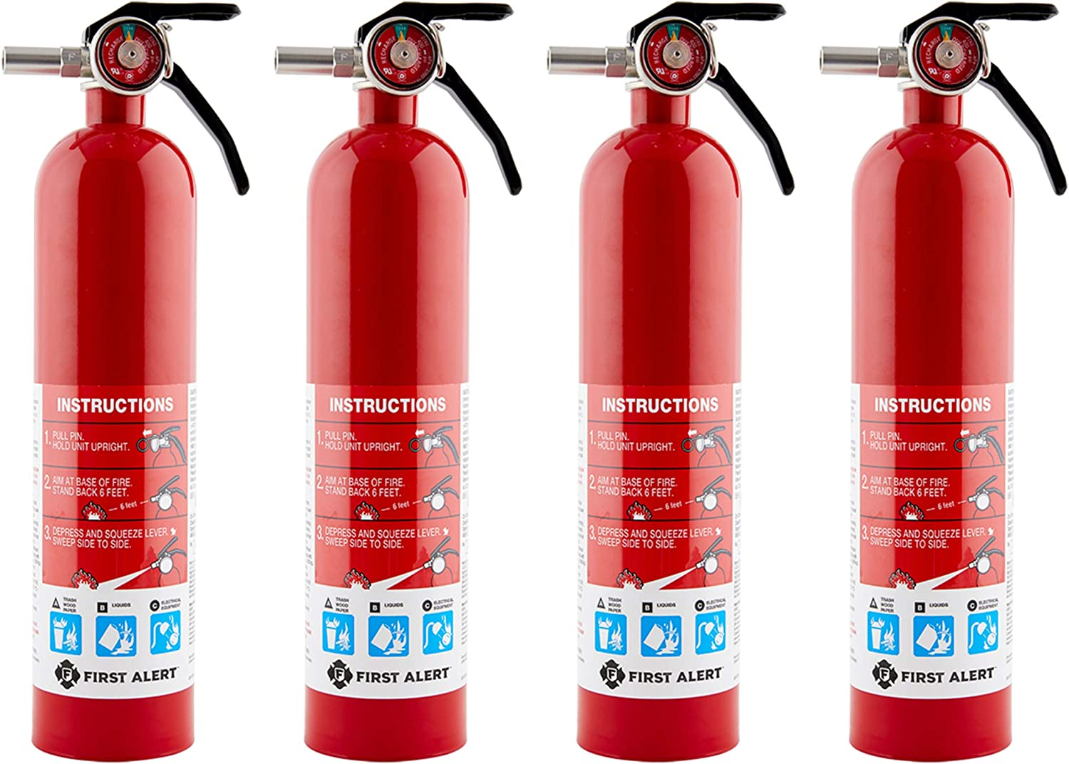 First Alert HOME1 Rechargeable Home Fire Extinguisher 4-Pack, Red | UL Rated 1-A:10-B:C | All-Metal Fire Extinguisher with Pull Pin & Safety Seal | U.S. Coast Guard Approved for Marine Use - -