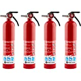 First Alert HOME1 Rechargeable Home Fire Extinguisher 4-Pack, Red | UL Rated 1-A:10-B:C | All-Metal Fire Extinguisher with Pu