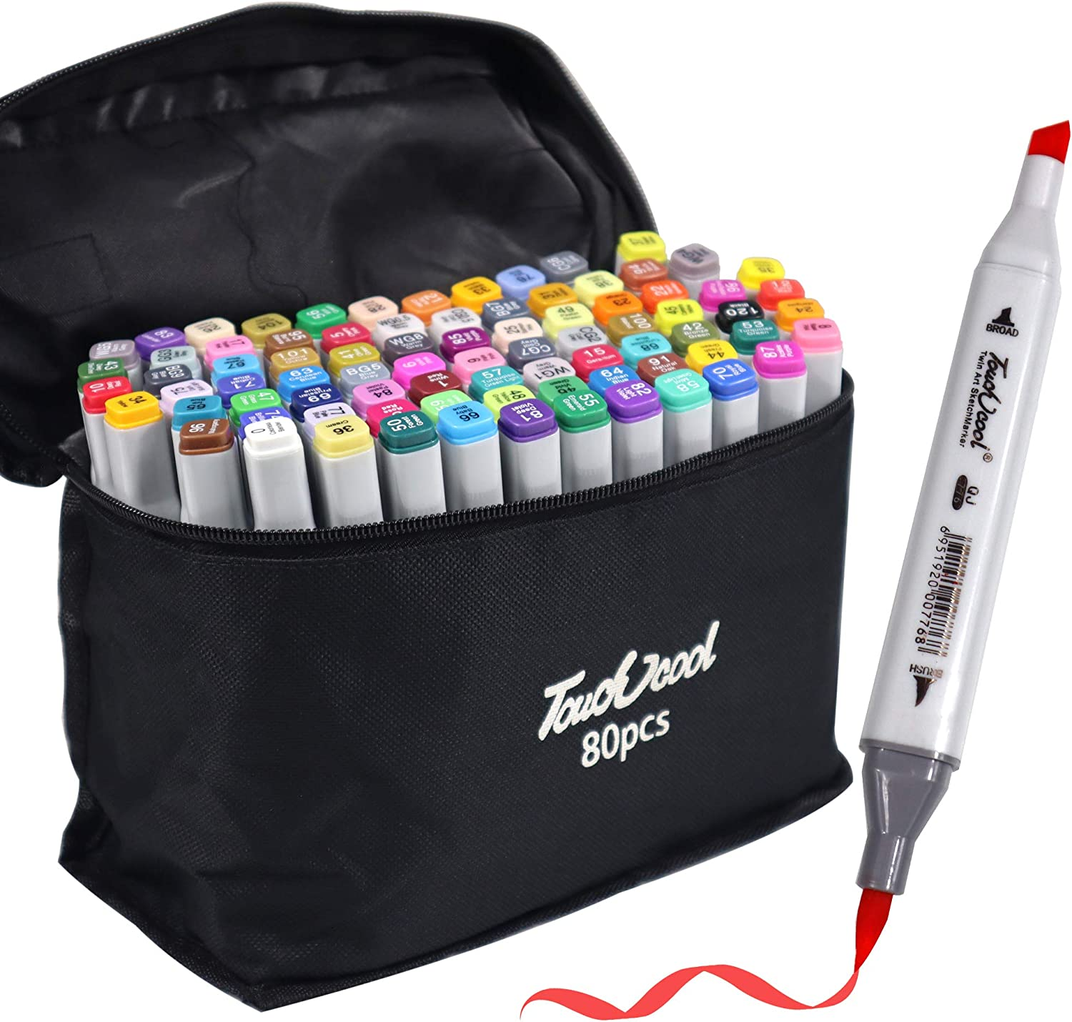 Brush Tip 81 Colors Alcohol Art Markers, Advanced Dual Tip, Plus 1 Blender Marker with Thick Packing, Permanent Sketch Markers for Kids, Adults Coloring and Artist Illustration