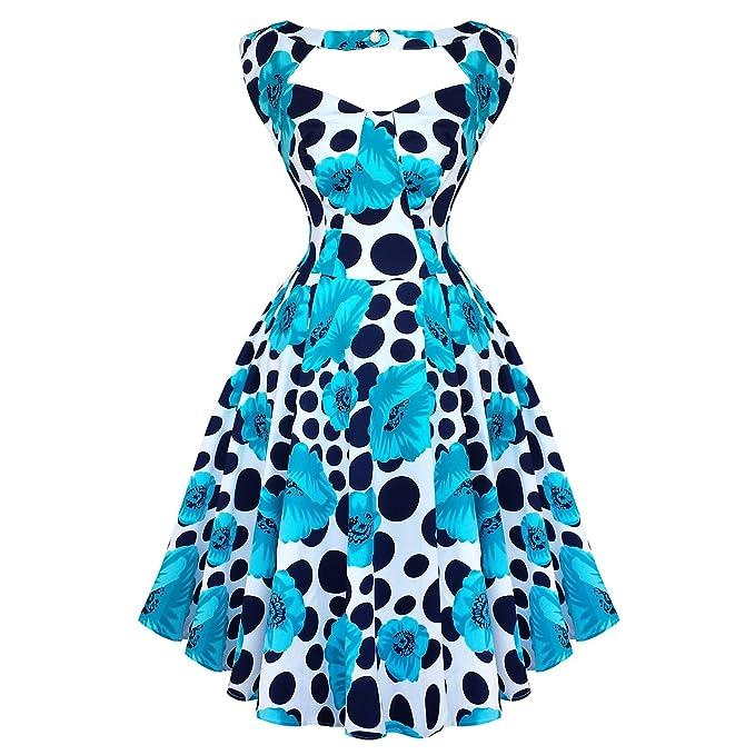 Diseño de flores y Londres - vestido de fiesta azul de lunares 50 diseño Vintage de