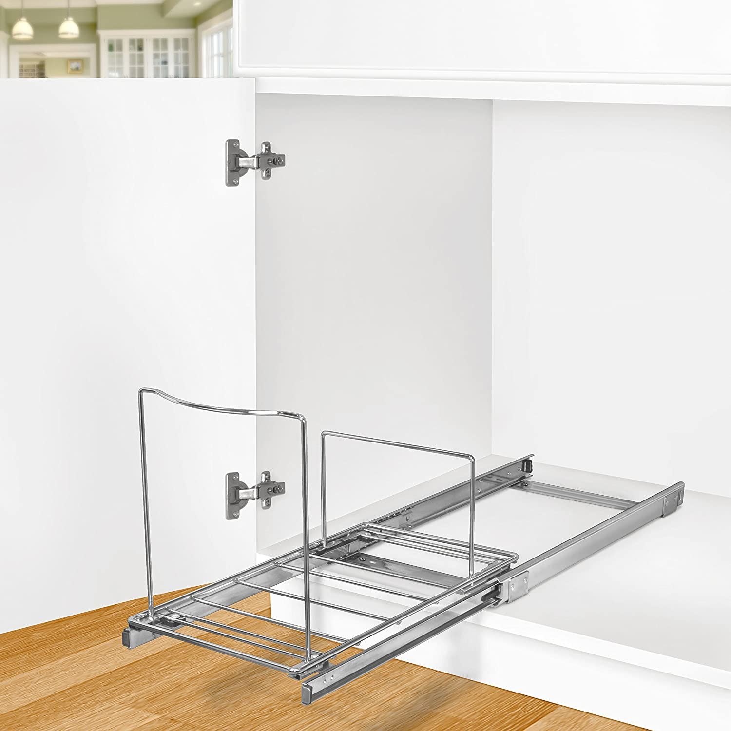 Lynk roll out under sink cabinet organizer pull out two tier sliding - Amazon Com Lynk Professional Roll Out Bin Holder Pull Out Under Cabinet Sliding Organizer Chrome