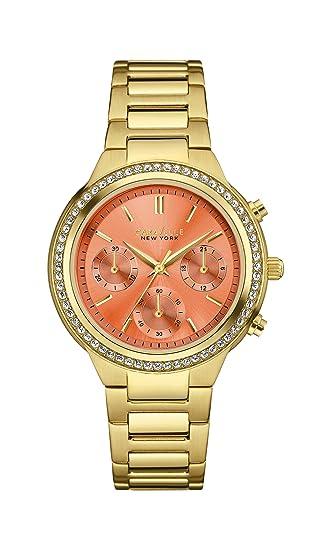Caravelle New York 44L218 - Reloj de pulsera Mujer, Acero inoxidable, color Oro: Amazon.es: Relojes