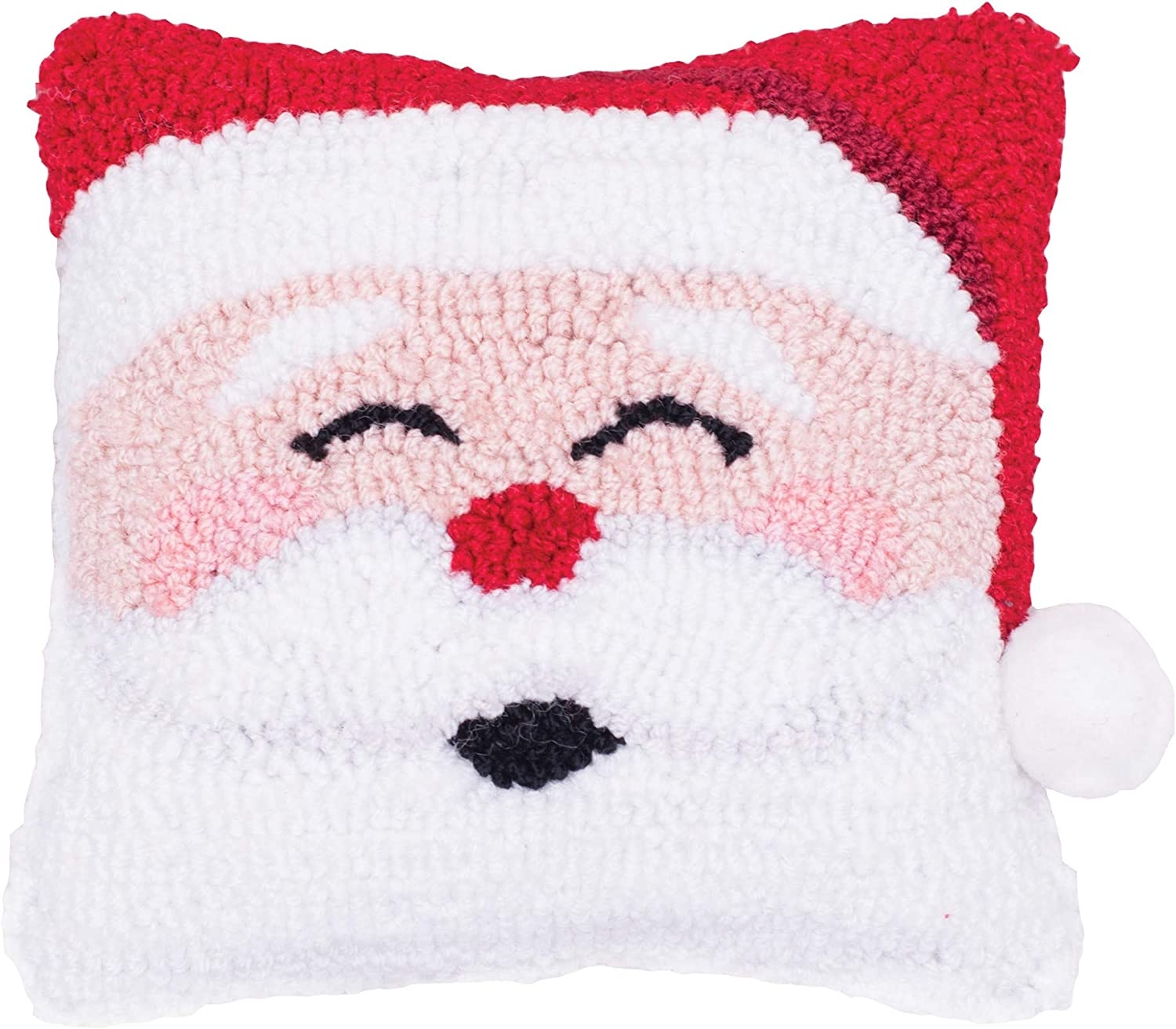 C&F Home Happy Santa Hooked Pillow Petite Xmas Christmas Winter Decorative Throw Pillow for Couch Chair Living Room Bedroom 8 x 8 White